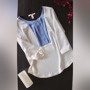 FOREVER 21 Silky Ivory & Blue Color Block Blouse